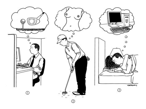 Alex Gregory Man At Work Thinking About Golf Golfing Thinking About Sex Having Sex T New Yorker Cartoon